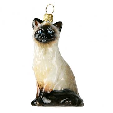 Елочная игрушка из стекла «Сиамский котик», производство Komozja Family, Польша