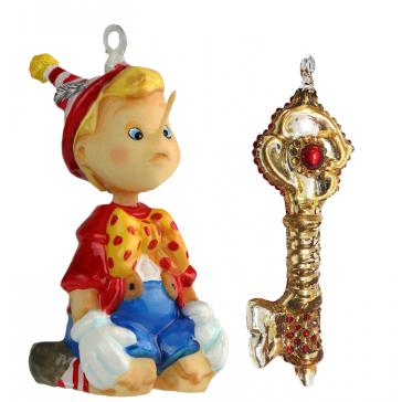 Набор коллекционных елочных игрушек «Тайна золотого ключика», Польша