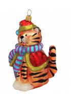 Елочная игрушка «Кот в костюме Санты»