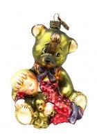 Елочная игрушка «Медвежонок со спящим мальчиком»