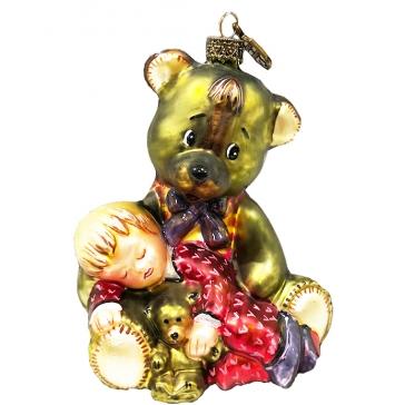 Елочная игрушка из стекла «Медвежонок со спящим мальчиком», производство Польша