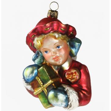 Елочная игрушка из стекла «Девушка с подарком», ручная работа