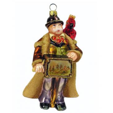 Елочная игрушка ручной работы «Шарманщик с попугаем», Komozja и Mostowski, Польша