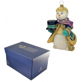 Елочная игрушка «Снеговик со шляпой», ручная работа