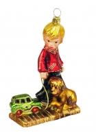 Елочная игрушка «Мальчик с собакой»