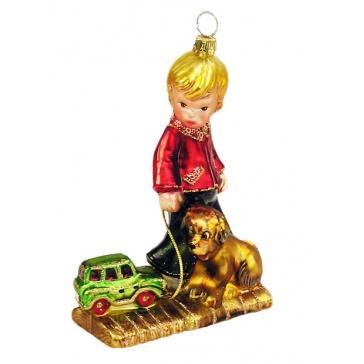 Стеклянная елочная игрушка «Мальчик с собакой», ручная работа