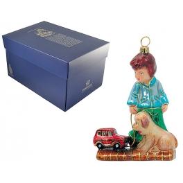 Елочная игрушка «Мальчик с машинкой и собакой»
