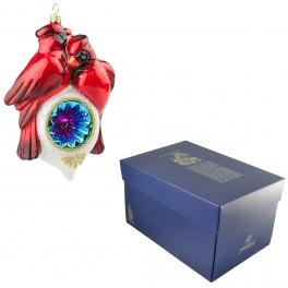Стеклянная елочная игрушка «Две птички на фонаре» в фирменной упаковке