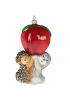 Елочная игрушка «Зайчик, ёжик и яблочко»