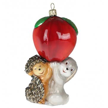 Елочная игрушка Komozja Family «Зайчик, ёжик и яблочко»