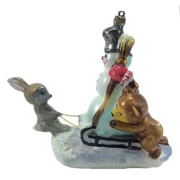 Елочная стеклянная игрушка «На горке»