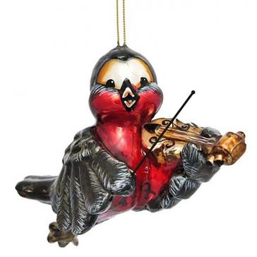 Елочная игрушка из стекла «Снегирь-скрипач», размер 7х11 см