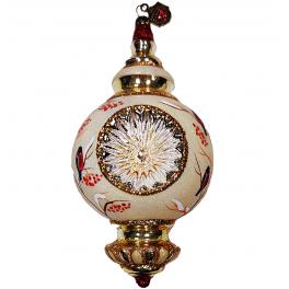 Елочная игрушка-рефлектор «Снегири», стекло с художественной росписью