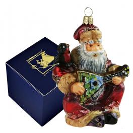 Польская елочная игрушка «Дед Мороз с балалайкой»