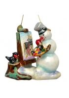 Елочная игрушка «Снеговик-художник»