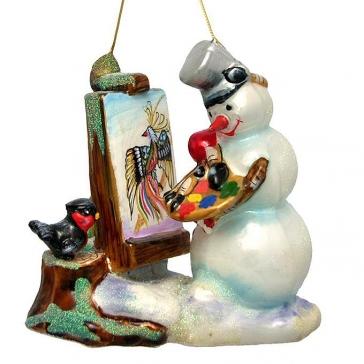 Стеклянная елочная игрушка «Снеговик-художник», ручная роспись