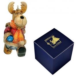 Стеклянная елочная игрушка «Лось с портфелем», 12х7 см