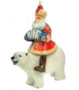 Елочная игрушка «Дед Мороз на белом медведе»