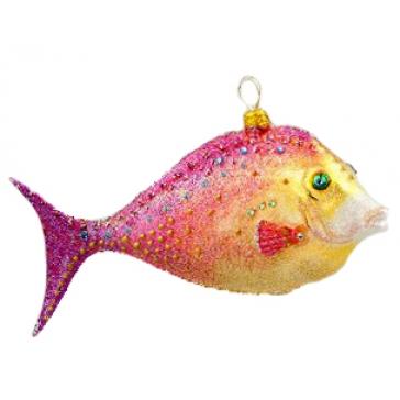 Елочная игрушка из стекла «Рыбка» в фирменной упаковке