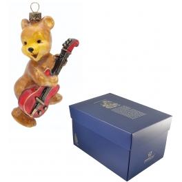 Елочная игрушка «Мишка с гитарой», стекло, ручная роспись