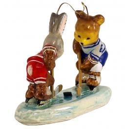 Елочная игрушка польского производства «Хоккеисты»