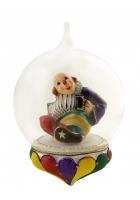 Елочная игрушка-глоб «Клоун с гармошкой»