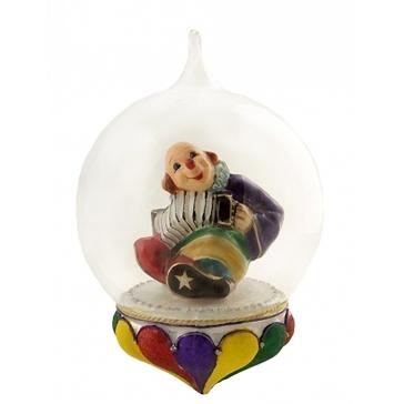 Елочная игрушка-глоба «Клоун с гармошкой», тонкая ручная работа