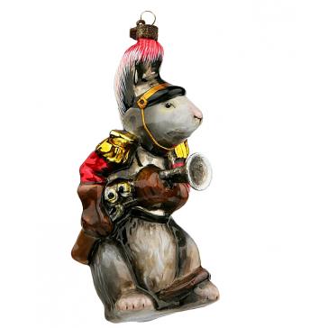 Стеклянная игрушка на елку «Мышь с мушкетом», размер 11,5 х 5,5 см