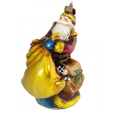 Стеклянная елочная игрушка «Дед Мороз с золотым мешком», ручная работа, Komozja Family, Польша