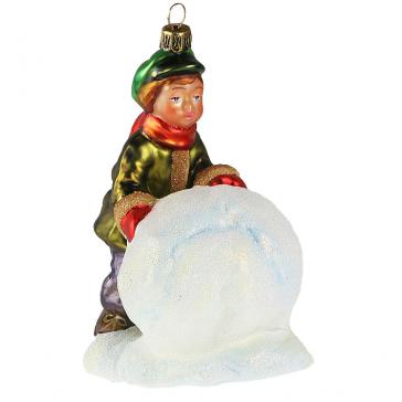 Елочная игрушка ручной работы из Польши «Мальчик со снежным комом»