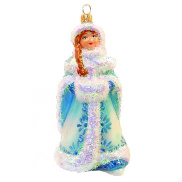 Елочная игрушка из стекла «Снегурочка с муфтой»