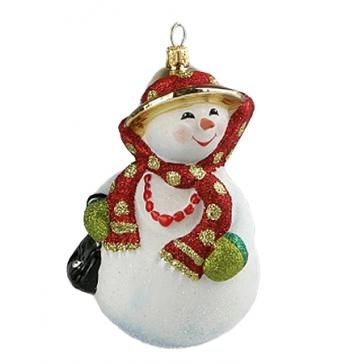 Стеклянная игрушка на елку «Снеговичка», ручная работа, Komozja и Mostowski