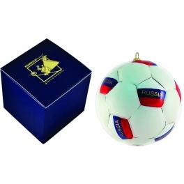 Елочная игрушка из стекла «Футбольный мяч России», диаметр 10 см