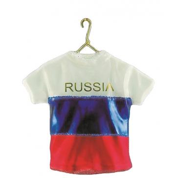 Елочная игрушка из стекла «Футболка сборной России»