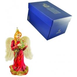Стеклянная ёлочная игрушка «Ангел с лирой»