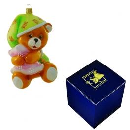 Елочная игрушка польского производства «Мишка в пижаме», 12х8 см