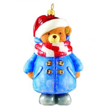 Елочная игрушка «Мишка в пальто», 12х8 см, ручная работа