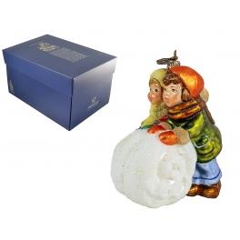 Стеклянная ёлочная игрушка «Играющие дети»
