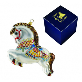 Стеклянная игрушка на елку «Цирковая лошадка», 12х11 см, ручная работа