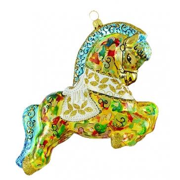 Елочная игрушка польского производства «Расписной конь»