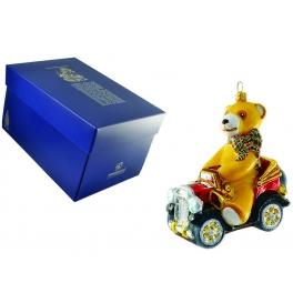 Елочная игрушка ручной работы «Мишка в авто», 10х11 см