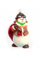 Елочная игрушка «Снеговик-авиатор»