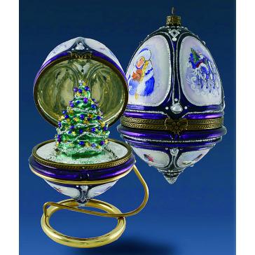 Елочная игрушка-яйцо «Елка со звездами», новогоднее украшение в виде шкатулки с сюрпризом