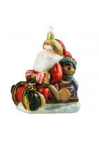 Елочная игрушка «Санта с мишкой в санях»