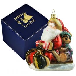 Елочная игрушка из стекла «Санта с мишкой в санях», новогодние украшения