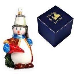 Елочная игрушка польского производства «Снеговик с морковкой»