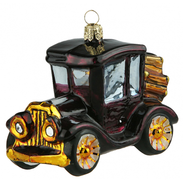 Елочная игрушка из стекла «Автомобиль-Ретро», ручная работа, производство Польша