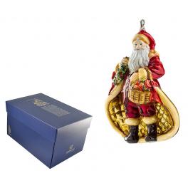 Елочная игрушка из стекла «Санта с конфетами», ручная работа