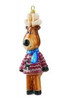Елочная игрушка «Олень в голубом шарфике»
