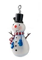 Елочная игрушка «Снеговик-голубые рукавички»